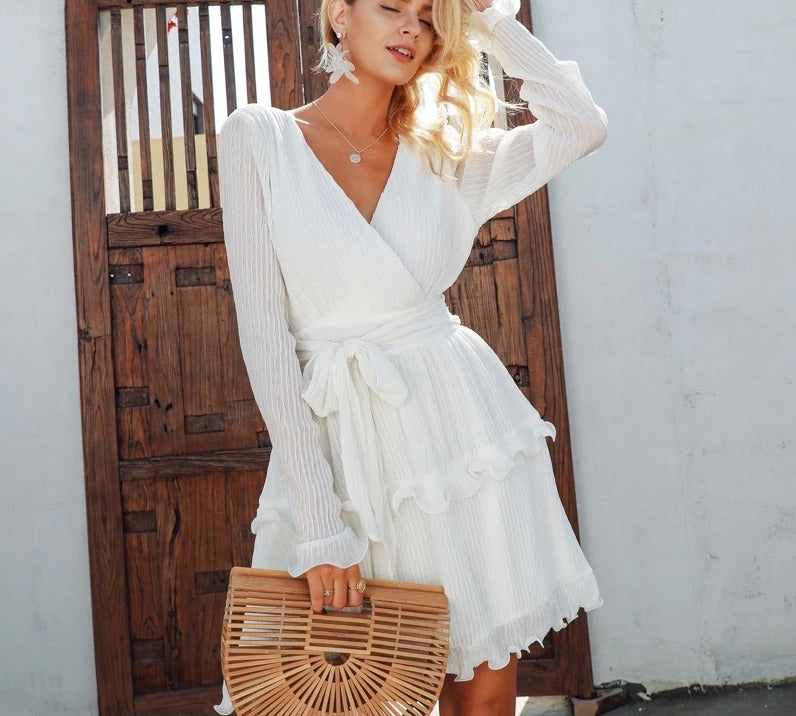 Elegant pleated chiffon  Long sleeve v neck ruffles white dress