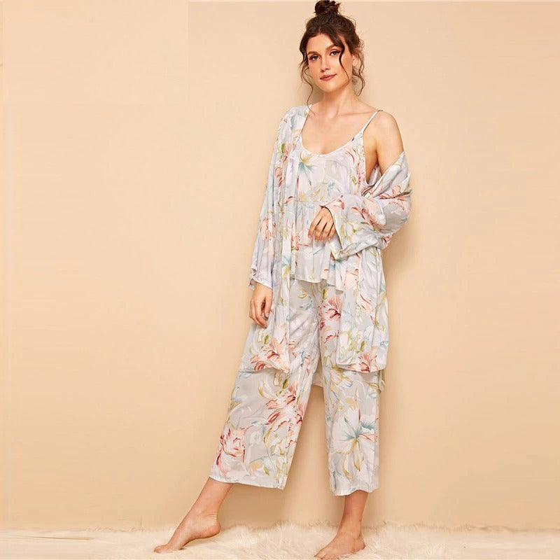 Floral Print Cami Pajama Set With Robe Casual Sleepwear