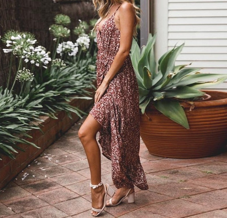 Floral sleeveless ruffle long Boho dress