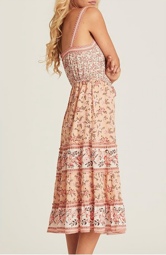 Flower print Slip Long Boho Adjustable Sashes Slash Neck  Ruffle Dress