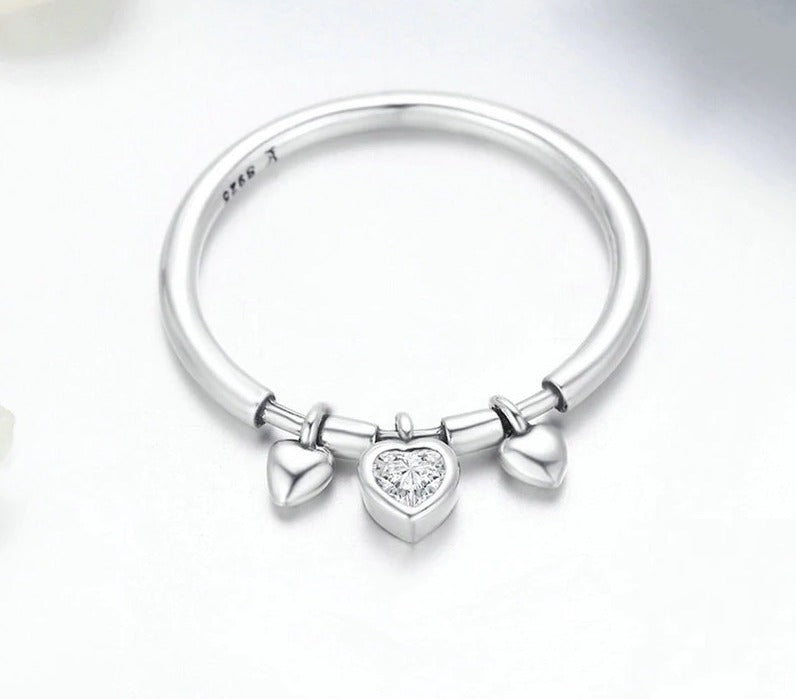 Glittering Heart Clear CZ Angel Ring