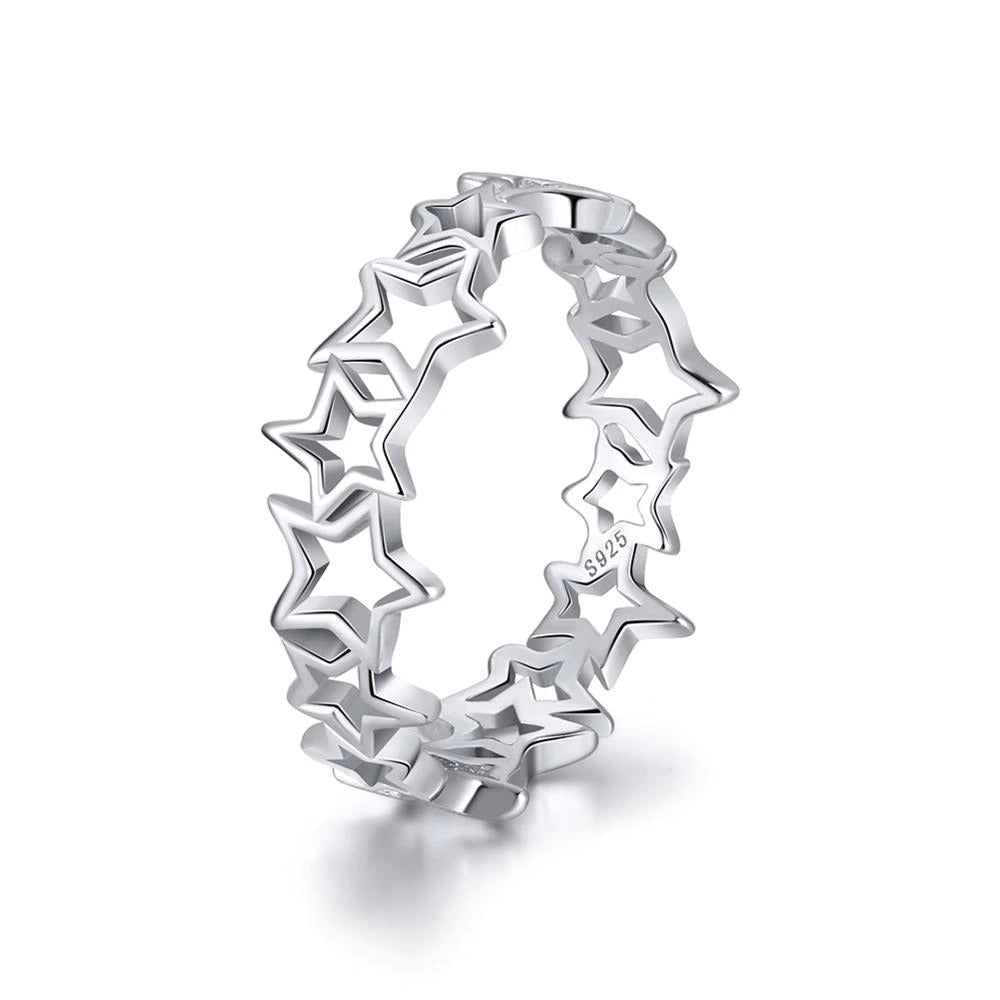 Hollowed Star Patchwork 6MM High Ring