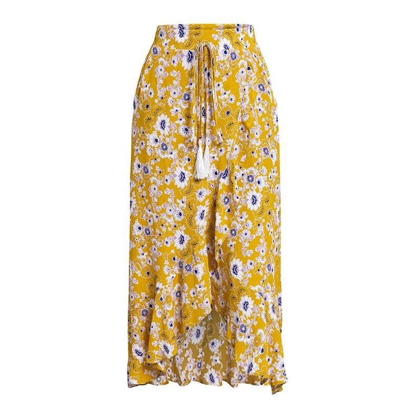 Long Yellow Bohemian Rayon Split Ruffle Skirt