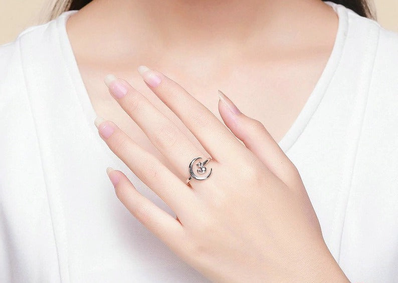 Moon Cat Open Size Adjustable Finger Ring