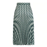 Pleated satin green England style skirt