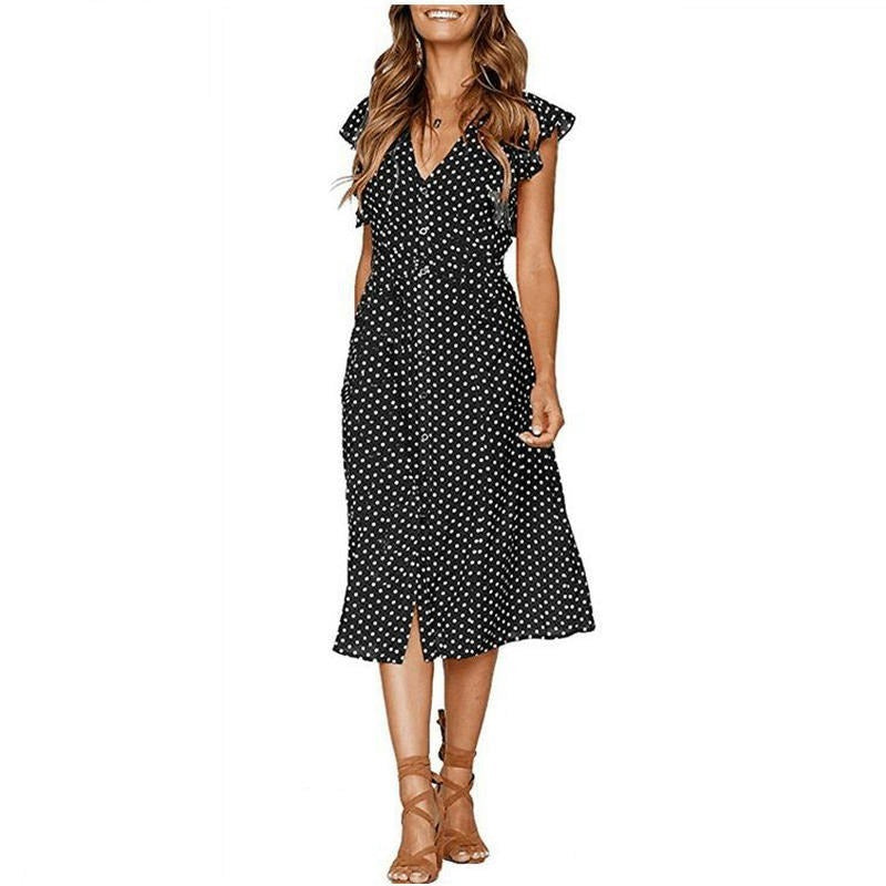 Polka dot dress office midi vintage dress