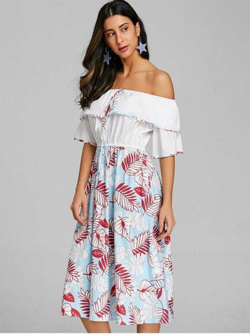 Print Layered Off The Shoulder Dress