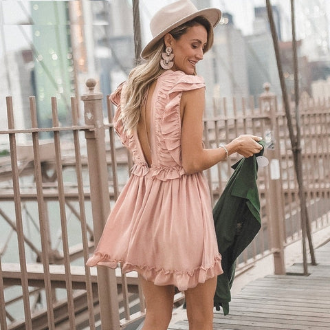 Ruffle pleated chiffon Lace up summer dress