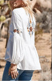 Boho White Embroidery Floral Blouses