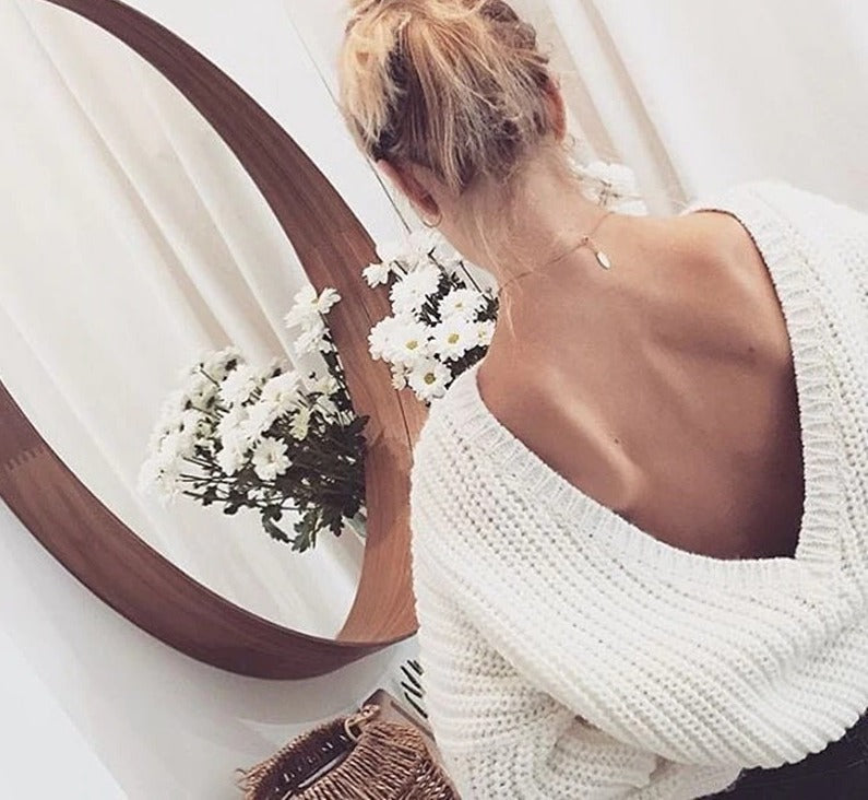 Sexy Backless V-neck Casual Knitted Sweater