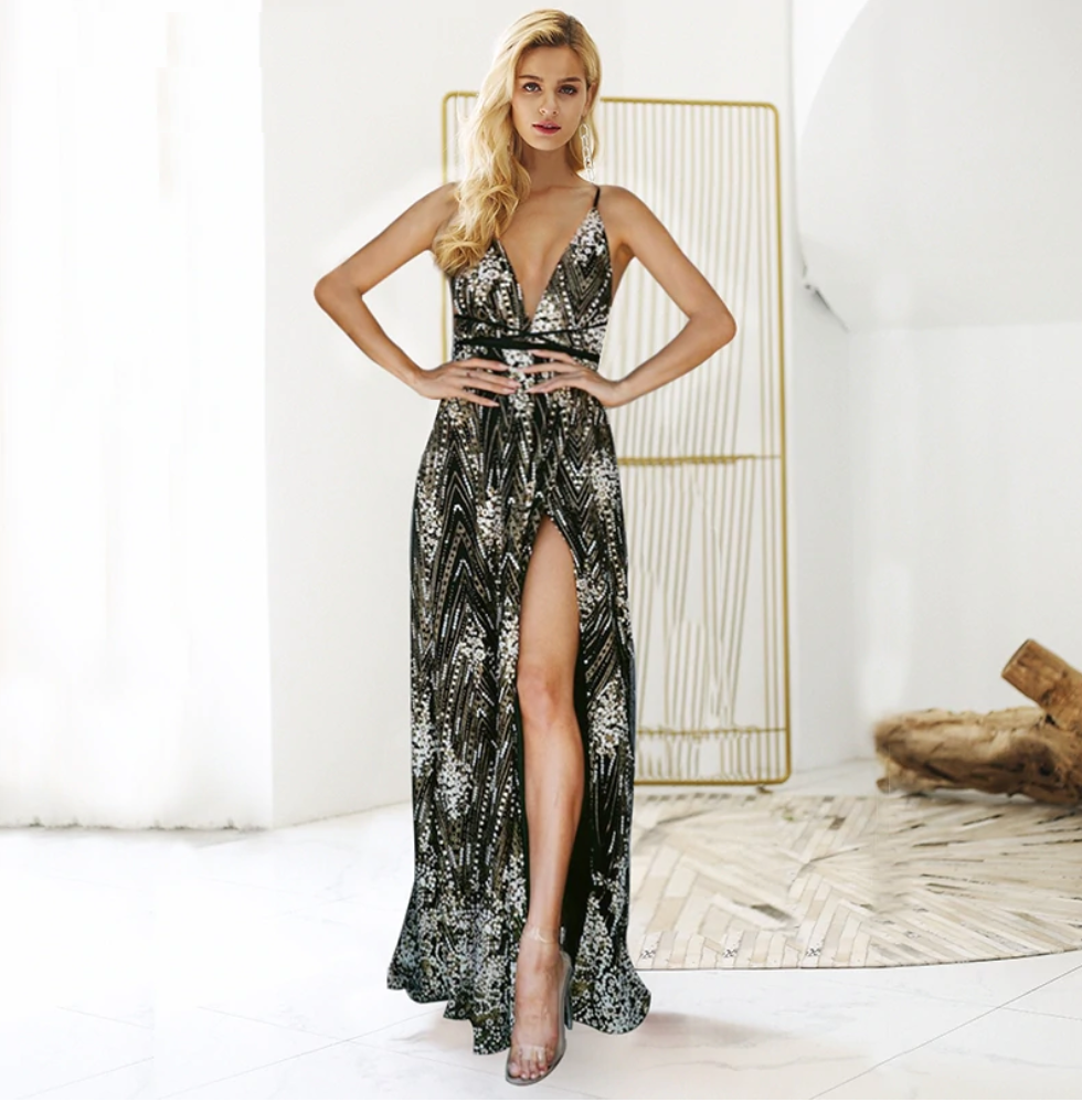 Sexy Elegant sequin party Backless maxi dress