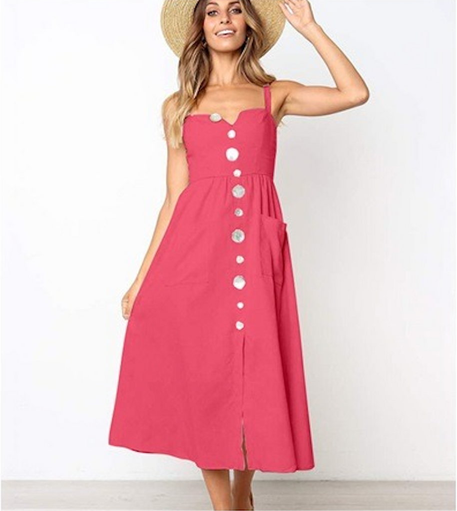 Sexy button pockets strap boho dress