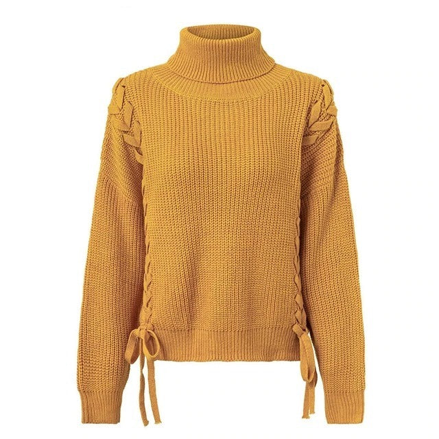 Side lace up Turtleneck sweaters