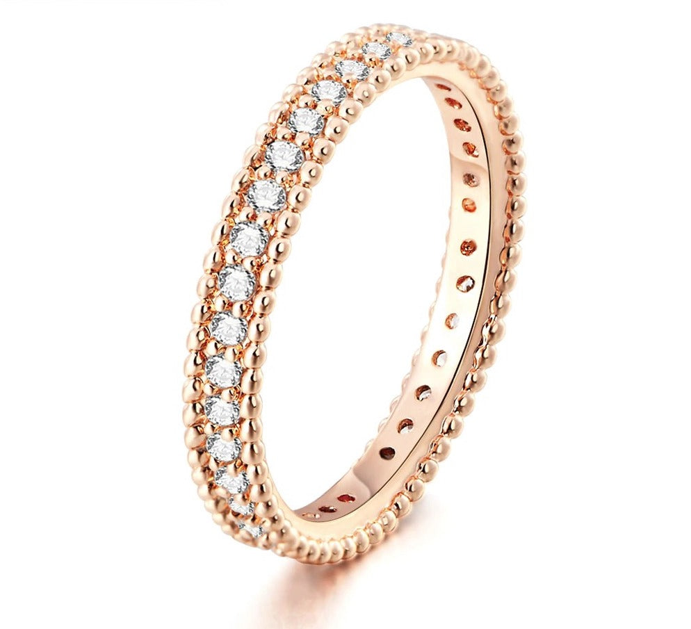 Simple Classic Cubic Zirconia Rose Gold Color Ring