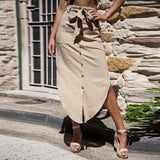 Solid Pocket Beach Skirts Casual Midi Skirt