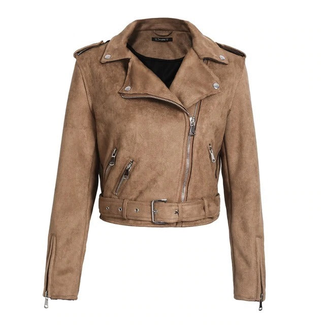 Suede faux leather jacket zipper belt jacket