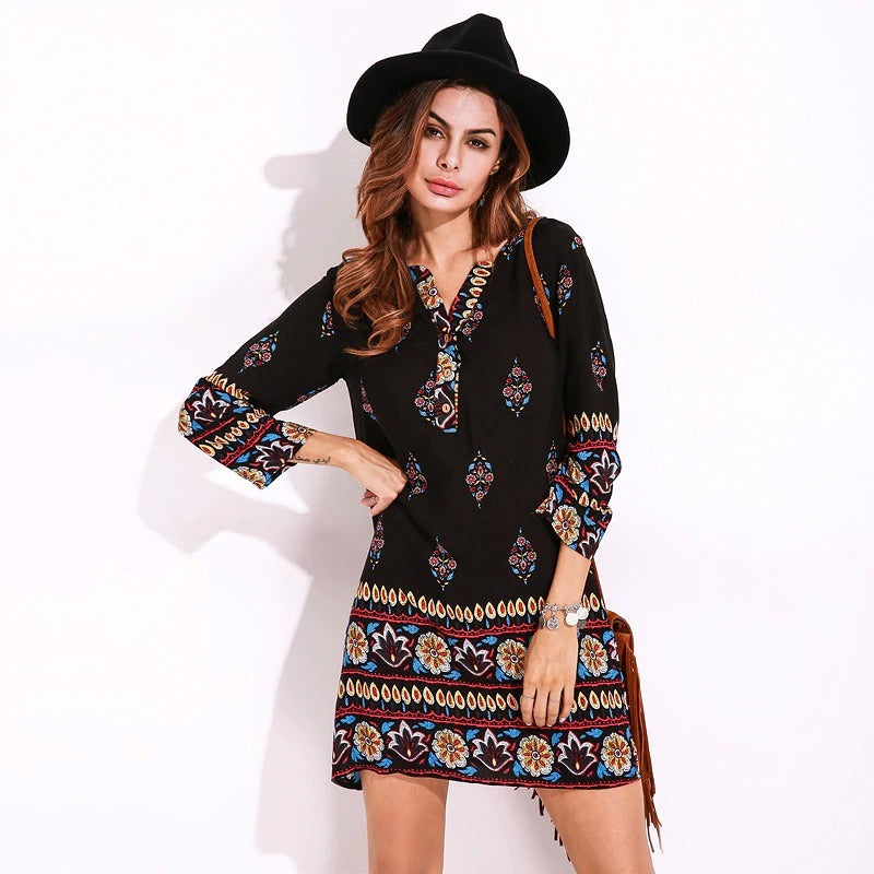 Summer Rayon Sleeved Flower Printed Floral Dress