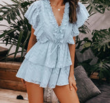 Summer V-neck ruffle elegant rompers  jumpsuit