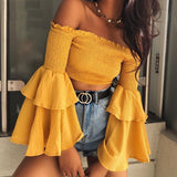 Sweet Ruffle Flare Sleeve Yellow crop top
