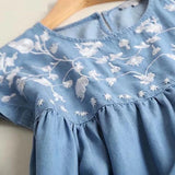 Sweet floral embroidery pleated soft denim dress