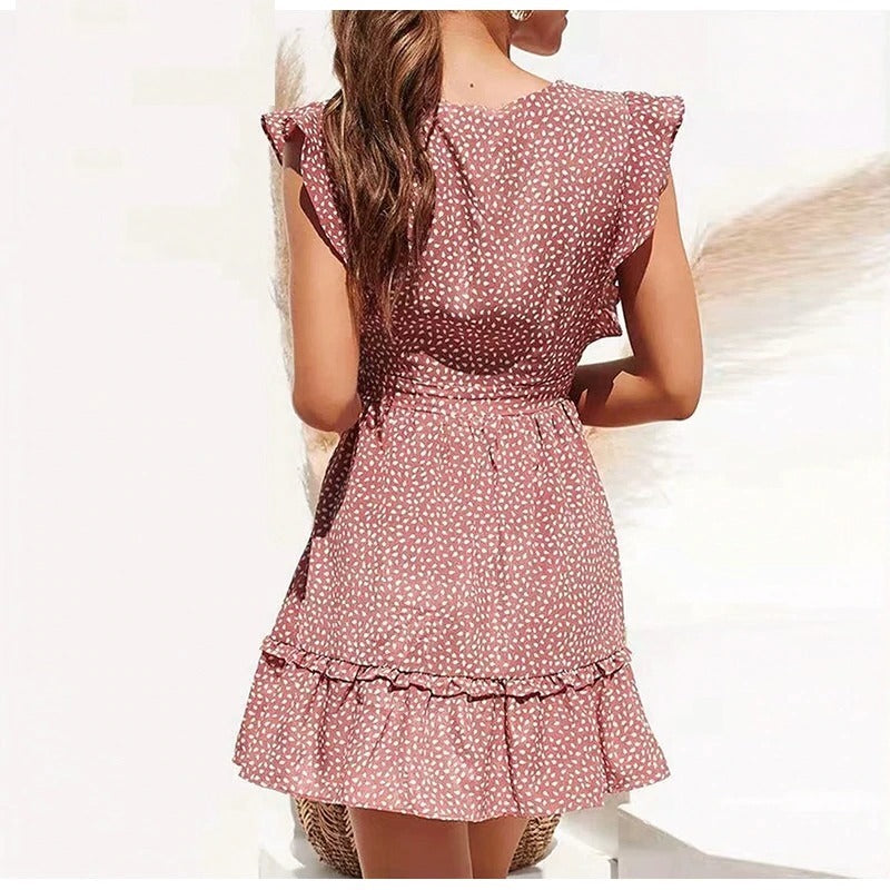 Vintage Print V Neck Short Dress