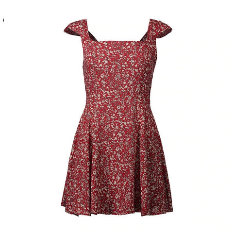 Wine Floral Print Boho Short Dress