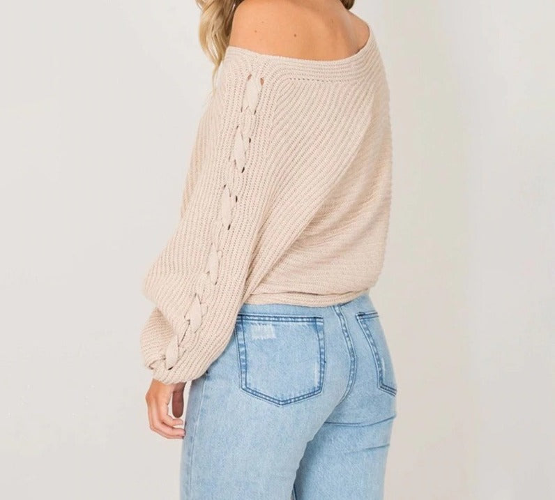 Winter lace up knitted pullover sweater