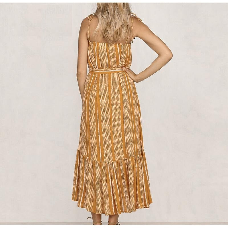 Yellow Spaghetti Off Shoulder Stripe Long Dress
