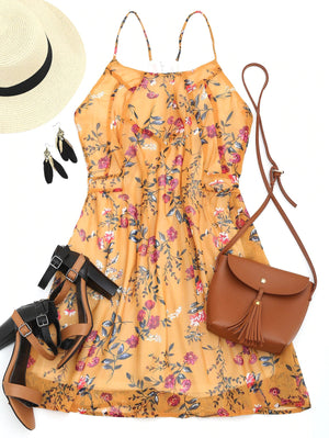 Yellow Floral Racerback Back Zip Mini Dress
