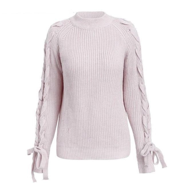 casual autumn Lace up knitted sweater