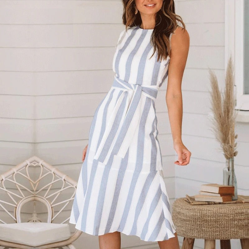 casual wide striped print dress