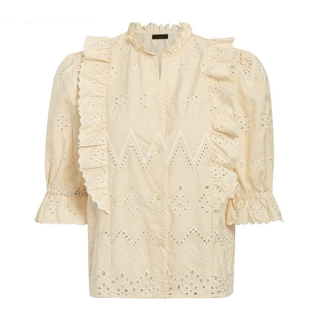 embroidery lace ruffled hollow out top