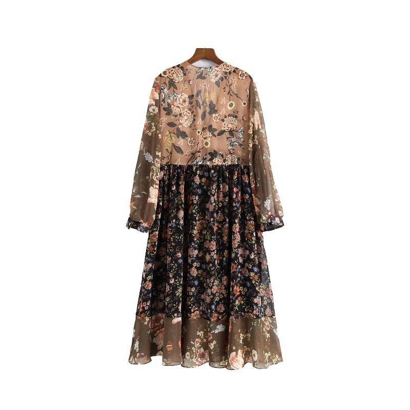 floral chiffon pleated long sleeve vintage female retro chic mid calf dress