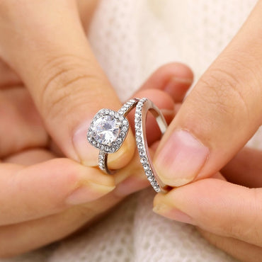 2Pcs/Set Zirconia Zinc Alloy Stone Rings