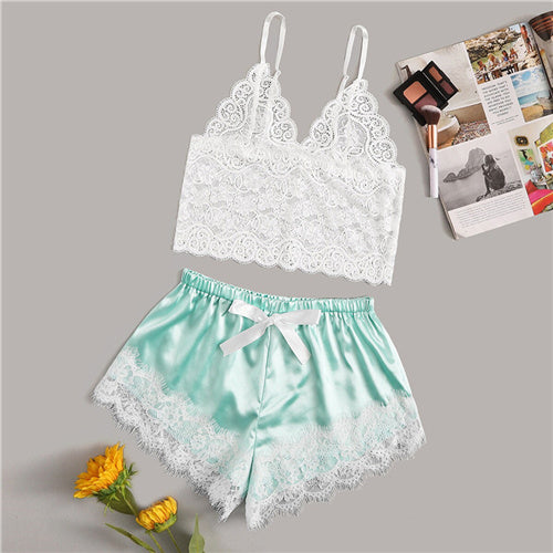 Floral Lace Cami Top With Satin Shorts Lingerie Set