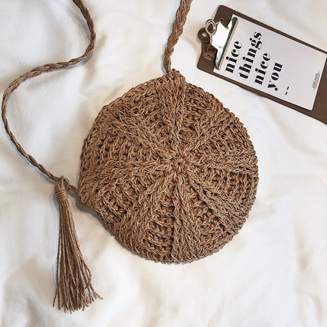 Round Women Handmade Knitted Woven Rattan Bag