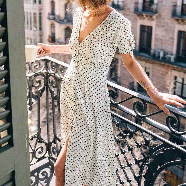 Polka Dot Long Dress Sexy Split White V Neck Party Dress