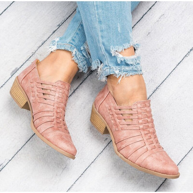 Hollow Low Heel Chunky Heels Zipper Pointed Toe Ankle Boots
