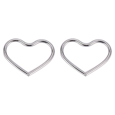 2pc Titanium Steel Heart-shaped Ear Cuff Clip Cartilage Earring