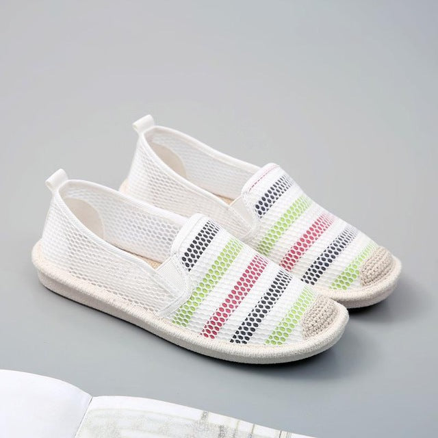 Air Mesh Lightweight Breathable Stripe Soft Fisherman Flat Lazy Loafers Shoes