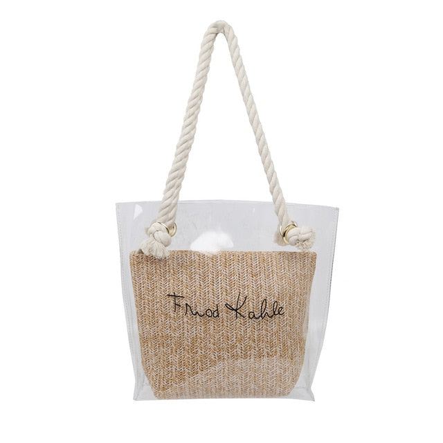 simple Transparent Letter Large-Capacity Shoulder Bag
