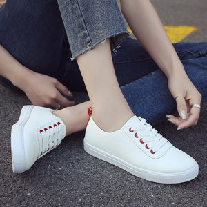 Shoe Lace Up Round Toe Casual  Vulcanized Sneakers
