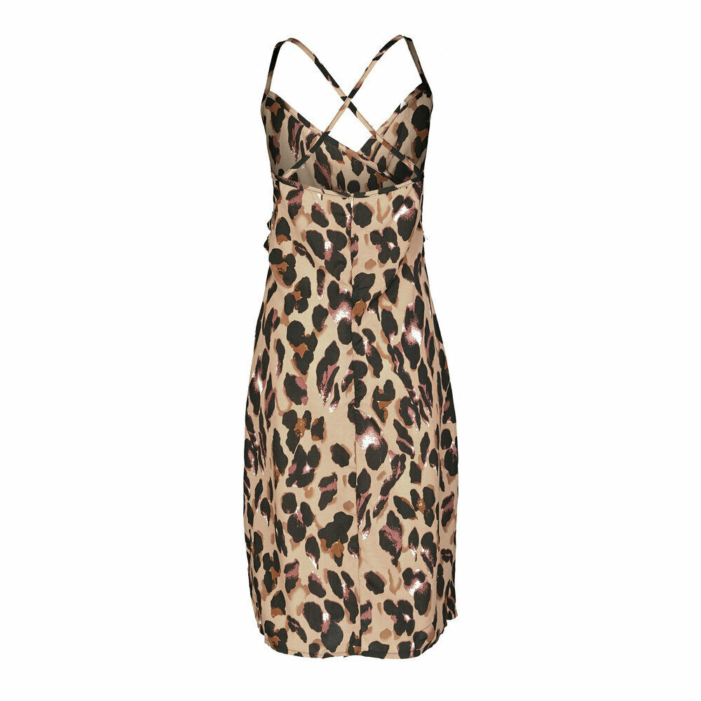 Summer Boho Leopard Print Sleeveless Sundress