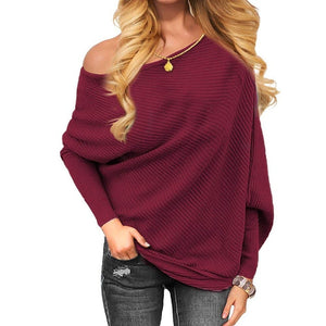 Sexy One Off Shoulder Loose Knitted Sweater