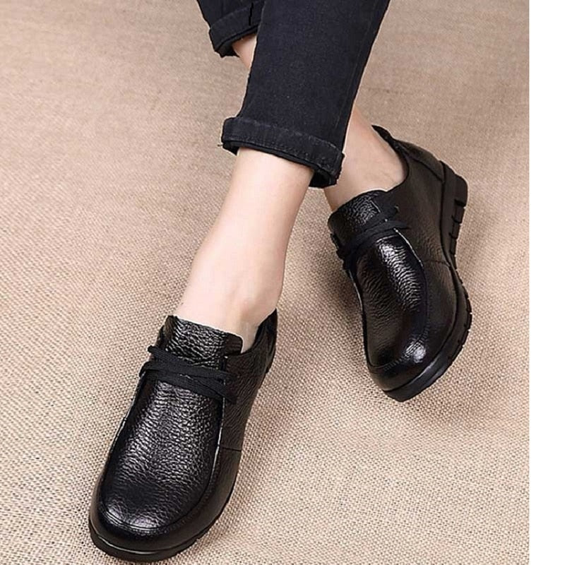 Designer Ballet Flats Black Genuine Leather Loafers Casual Shoes