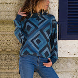 Turtleneck Knitted Geometric Printed Pullover Sweater