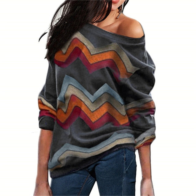Striped Print Off Shoulder Knitted Sweaters