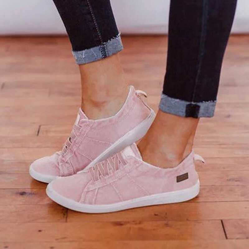 Classical Torridity Flat Vulcanize Low-cut -up Ladies Sneakers