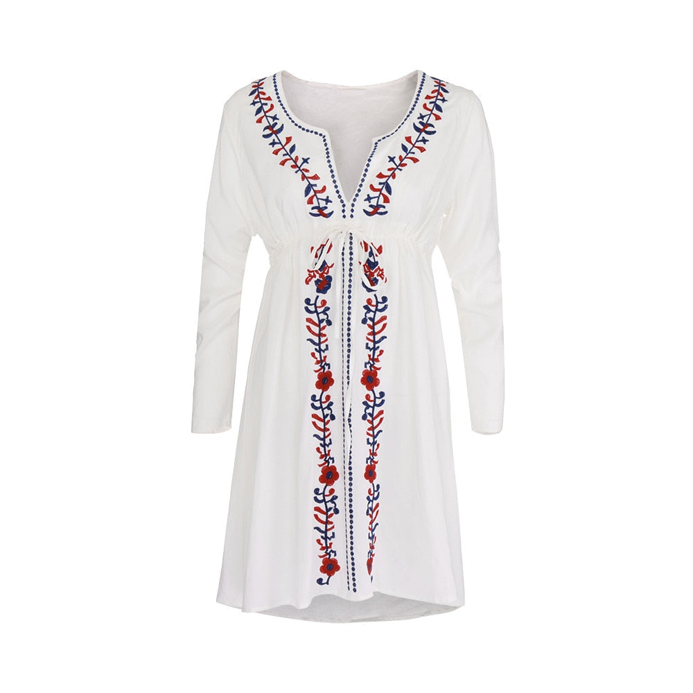 Beach Cover Up Embroidery Vintage Ethnic Style Dress