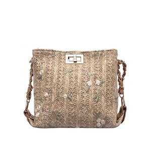 Simple Lace Chain Messenger Straw Bag